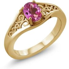 0.95 Ct Oval Pink Mystic Topaz 18K Yellow Gold Ring