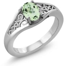 1.00 Ct Oval Green Amethyst 925 Sterling Silver Ring