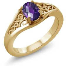 0.75 Ct Oval Checkerboard Purple Amethyst 14K Yellow Gold Ring
