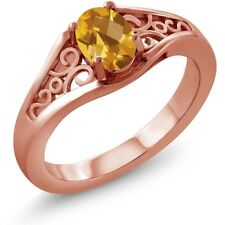 0.70 Ct Oval Checkerboard Yellow Citrine 925 Rose Gold Plated Silver Ring