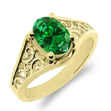 1.24 Ct Oval Green Simulated Emerald 14K Yellow Gold Ring