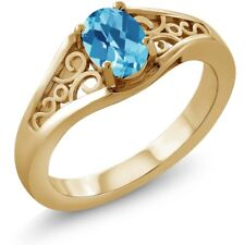 0.95 Ct Oval Checkerboard Swiss Blue Topaz 18K Yellow Gold Ring