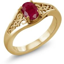 1.02 Ct Oval Red Ruby 925 Yellow Gold Plated Silver Ring