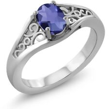 0.65 Ct Oval Checkerboard Blue Iolite 18K White Gold Ring