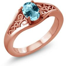 1.00 Ct Ice Blue 925 Rose Gold Plated Silver Ring Natural Topaz Cut by Swarovski