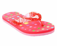 WOMENS RED BEADED TOE POST FLIP FLOP BEACH SUMMER HOLIDAY SANDALS LADIES UK 3-8