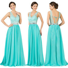 Backless LACE Bridesmaid Formal Gown Ball Party Cocktail Evening Prom Long Dress