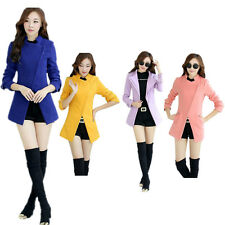 New Womens Wool Blend Slim Fit Inclined Lapel Zipper Trench Jacket Coat Outwear