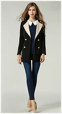 Women Lapel Double Breasted Button Plus Size Slim Fit With Belt Jacket Coat