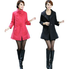 New Womens Double Breasted Slim Fit Stand Collar Long Winter Coat Jacket