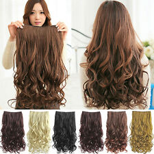 Hot Enticing Full Head Clip Curly Wavy Women Synthetic Hair Extension Extensions