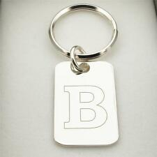 Solid 925 Sterling Silver Any Initial Keyring With Engraving Options