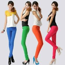 HOT Korean Fashion Sexy Candy Colors Show Thin Stretch Pencil Pants Jeans Pants