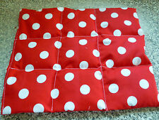 """HANDMADE SPOTTY WHEAT BAGS/ HEAT PADS LARGE 12"""" SECTIONED FOR LARGE AREAS"""