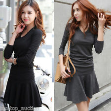 New Womens V-Neck Long Sleeve Slim Fit Casual Solid Swing Skater Pleated Dress