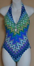 KENNETH COLE REACTION ONE PIECE SWIM SUIT PLUNGE NECK HALTER BLUE MULTI COLOR