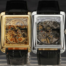 Hot Sales Steampunk Men's Rectangle Skeleton Dial Hand Mechanical Leather Watch