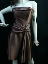 Cute Brown Strapless Party Dress w bow Ball Gown Wedding Occasion Prom Dance
