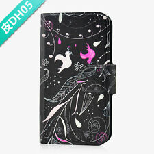 Pink And White Bird Black Flower PU Leather Flip Case Cover For Lenovo Phone