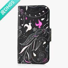 Pink And White Bird Black Flower PU Leather Flip Case Cover For Nokia Mobile 05