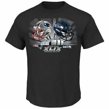 2015 Super Bowl XLIX Dueling Helmets Adult Shirt Black Patriots Vs Seahawks Rare
