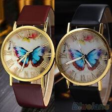 Womens Charming Butterfly Vintage Faux Leather Quartz Analog Dress Wrist Watch