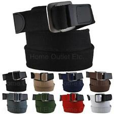 Canvas Double Square Buckle Web Belt Cotton D Ring Military Golf Baseball Womens