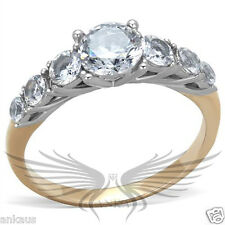 Two Tone IP Round Cubic Zircon CZ AAA Engagement Ring Size 5 6 7 8 9 10 TK1794