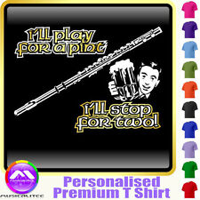 Flute Play For A Pint - Personalised Music T Shirt 5yrs - 6XL by MusicaliTee