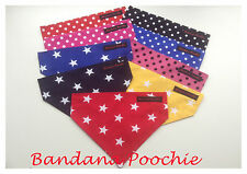 Handmade DOG BANDANAS slide on collar Neckerchief Scarf Stars and Polka Dot