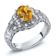 1.48 Ct Oval Checkerboard Yellow Citrine 925 Sterling Silver Ring