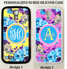 YELLOW PINK BLUE PEONY FLOWER MONOGRAM Case For Samsung Galaxy S7 S6 S5 NOTE 5 4