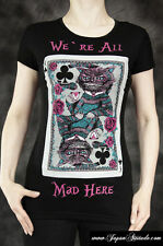 T-shirt noir Chat Cheshire, We're All Mad Here, carte Au pays des M Restyle