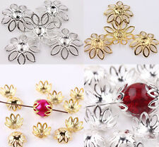 New 50Pcs Hollow Filigree Silver/Gold Plated Metal Flower Bead Caps 20mm Making