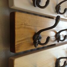 Luxury Solid Pine / Oak Wooden Coat Rail Cast Iron Hooks Handmade to order