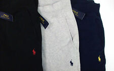 NWT POLO RALPH LAUREN FLEECE LINED TRACK SWEATPANTS W/ PONY $125 BLACK BLUE GRAY