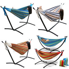 Premium Double Cotton Rope Hammock & Hammock Stand Combo With Free Carrying Case