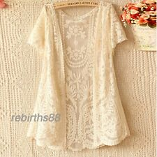 Women Hollow-Out gj Blouse Shirt Lace Embroidery Floral Crochet Cardigan New 8A8