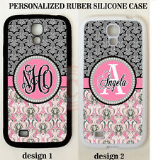 PINK GREY DAMASK FLEUR DE LIS MONOGRAM Case For Samsung Galaxy S6 S5 S4 NOTE 4 3