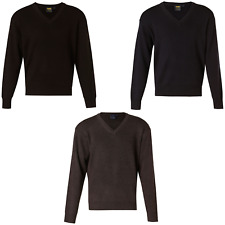 BLACK MENS V NECK KNITTED WOOL JUMPER WORK BUSINESS CASUAL WARM LONG SLEEVE TOP