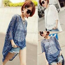 Fashion Sexy Women Cover Up Beach Pullover Top Tee Hollow Asymmetric Shirt Dress