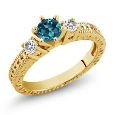 0.81 Ct London Blue Topaz & Sapphire 18K Yellow Gold Plated Silver 3-Stone Ring