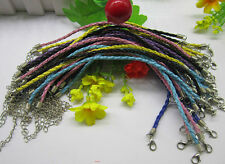 wholesale  handmade Twist the rope leather cord DIY Woven bracelet Lobster clasp