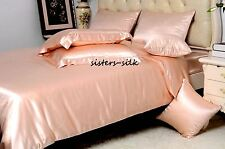 100% Pure Silk Duvet Cover Sheets Set Size Double 19 Momme Seamless Nude