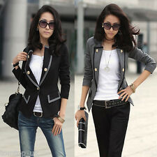 Women's Blazer Jacket One Button Slim Fit OL Lady Casual Suit Coat Outerwear S-L