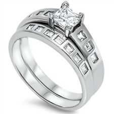 .925 Sterling Silver Neat Engagement Wedding Ring Set Princess Clear CZ Sz 5-10