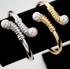 New Bracelet/Bangle With Pearl Cuff Style 18KT Gold or Platinum Plated