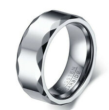 Mens 8MM TUNGSTEN Carbide Polished Wedding Band Prism Design Ring His Male Groom