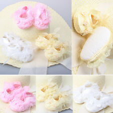 Non-Slip Newborn Infant Child Toddler Lace Frilly Flower Shoes 3 Colors Girls