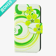 Green Flower Leaves Magnetic PU Leather Flip Case Cover For Samsung mobile 19